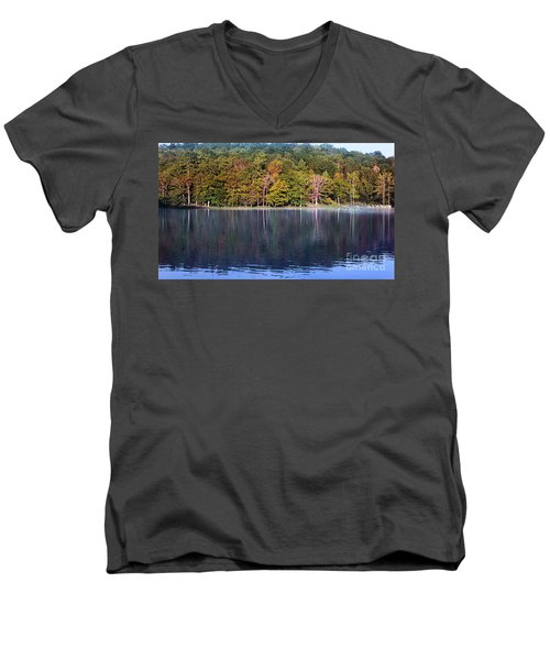 Little Beaver Lake Men's V-Neck T-Shirt by Melissa Petrey