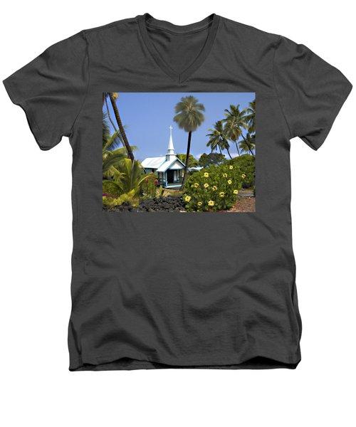 Little Blue Church Kona Men's V-Neck T-Shirt