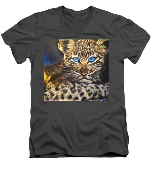 Men's V-Neck T-Shirt featuring the painting Little Blue Eyes by Belinda Low