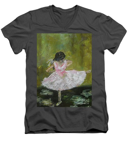 Men's V-Neck T-Shirt featuring the painting Little Dansarina by Reina Resto