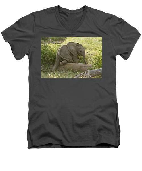 Little Elephant Big Log Men's V-Neck T-Shirt