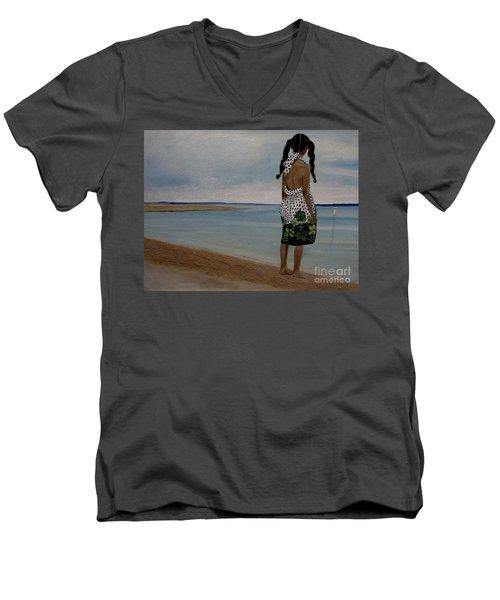 Little Girl On The Beach Men's V-Neck T-Shirt by Chelle Brantley