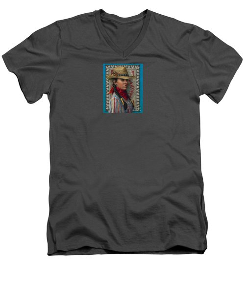 Men's V-Neck T-Shirt featuring the painting Little Rising Hawk by Jane Bucci