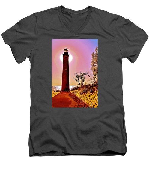 Little Sable Point Lighthouse Men's V-Neck T-Shirt