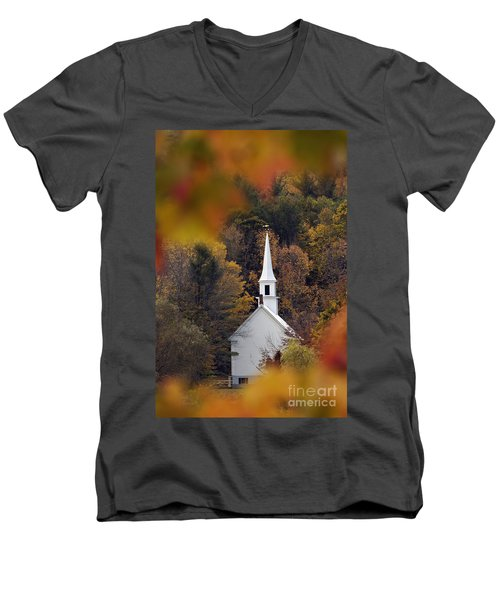 Little White Church - D007297 Men's V-Neck T-Shirt