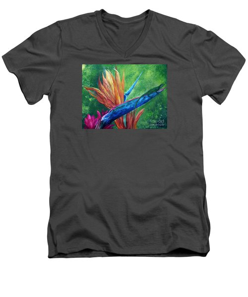 Men's V-Neck T-Shirt featuring the painting Lizard On Bird Of Paradise by Eloise Schneider