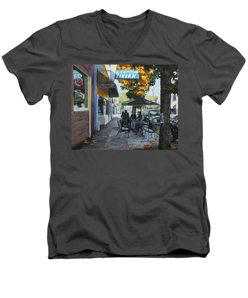 Men's V-Neck T-Shirt featuring the painting Local Color by Karen Ilari