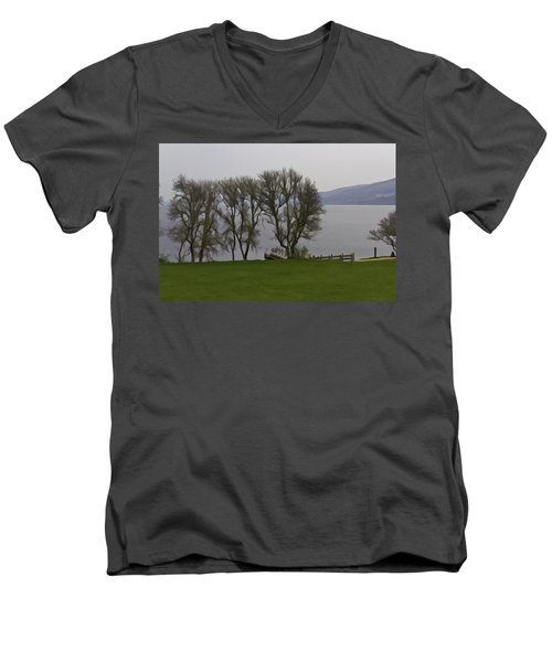 Loch Ness And Boat Jetty Next To Urquhart Castle Men's V-Neck T-Shirt
