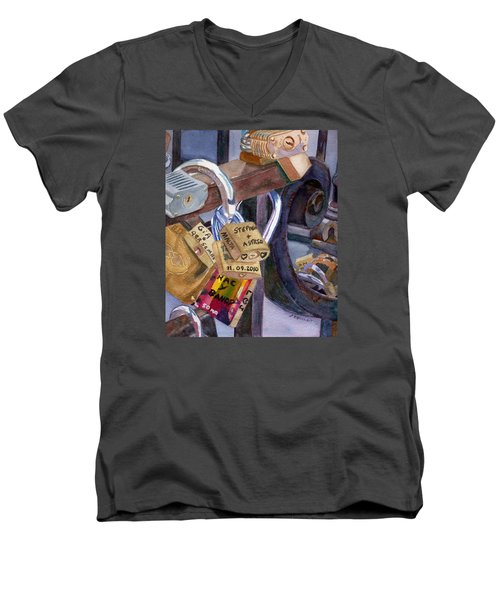 Men's V-Neck T-Shirt featuring the painting Locks Of Luck by Lynne Reichhart