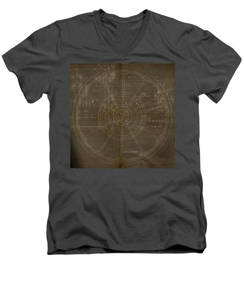 Men's V-Neck T-Shirt featuring the painting Locomotive Wheel by James Christopher Hill
