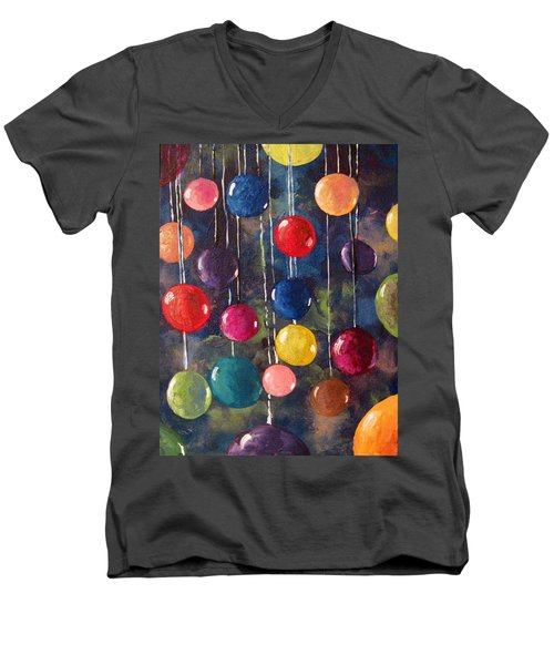 Men's V-Neck T-Shirt featuring the painting Lollipops Or Balloons? by Megan Walsh