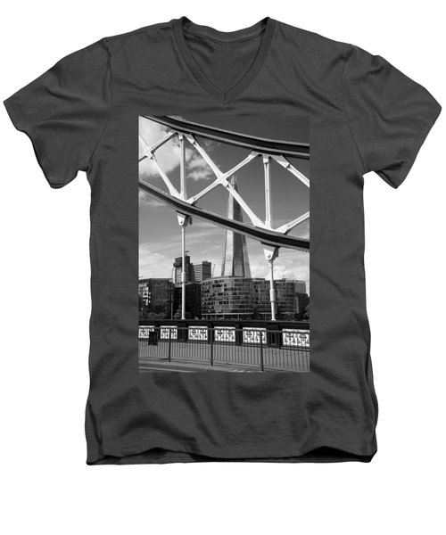 Men's V-Neck T-Shirt featuring the photograph London Bridge With The Shard by Chevy Fleet