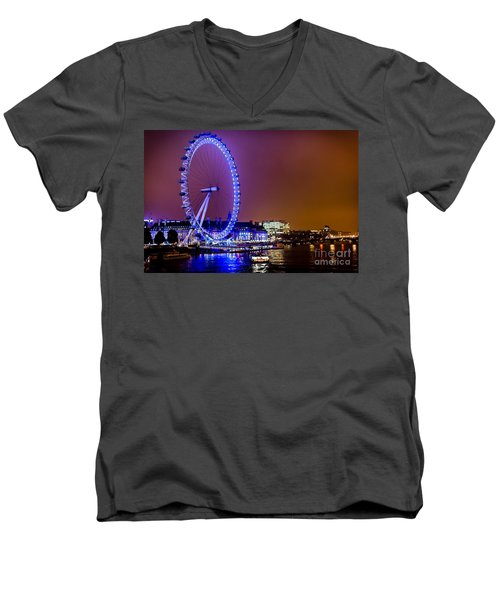 Men's V-Neck T-Shirt featuring the photograph London Eye Night Glow by Matt Malloy