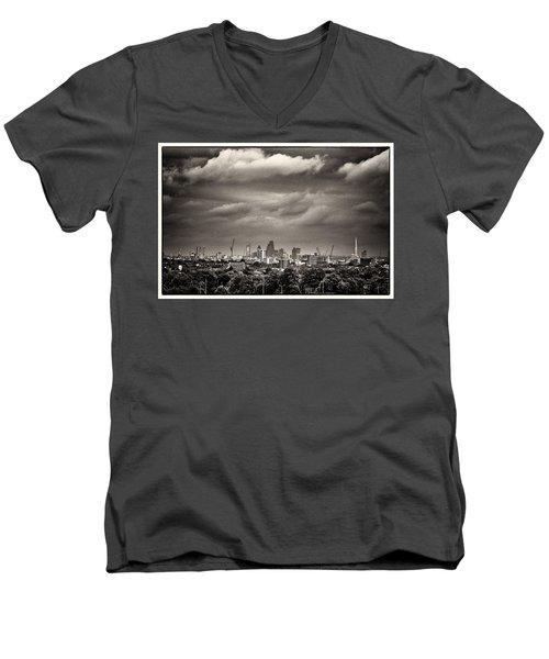 London Skyline From Hampstead Heath Men's V-Neck T-Shirt