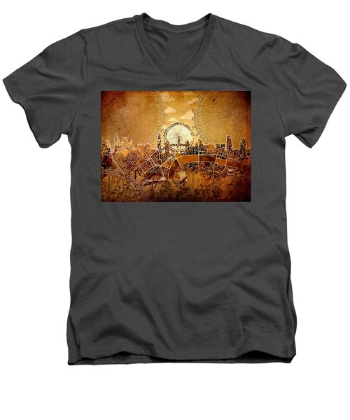 London Skyline Old Vintage  Men's V-Neck T-Shirt