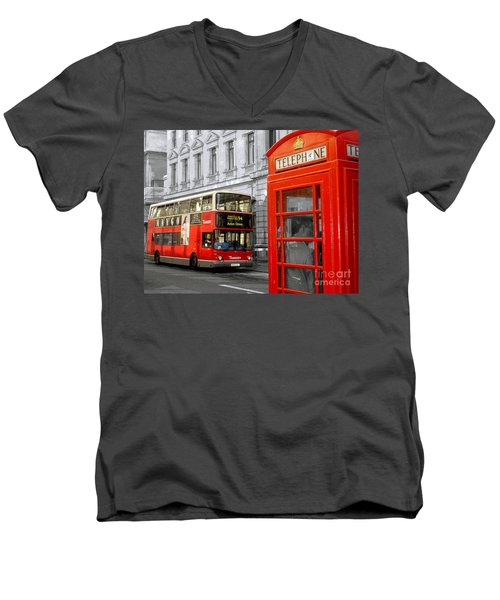 London With A Touch Of Colour Men's V-Neck T-Shirt by Nina Ficur Feenan