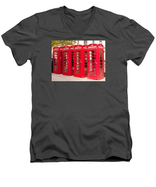 London's Red Phone Boxes Men's V-Neck T-Shirt