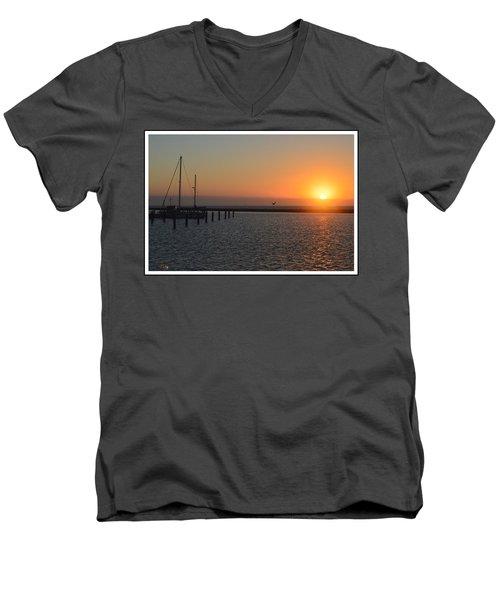 Lone Bird At The Marina Men's V-Neck T-Shirt by Leticia Latocki