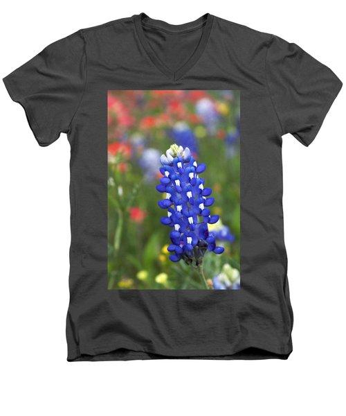 Lone Bluebonnet Men's V-Neck T-Shirt