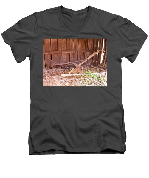 Men's V-Neck T-Shirt featuring the photograph Lone Plow by Nick Kirby