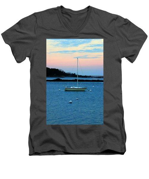 Lone Sailboat At York Maine Men's V-Neck T-Shirt