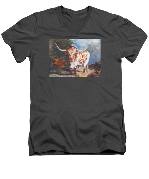 Lone Star Longhorn Men's V-Neck T-Shirt by Karen Kennedy Chatham