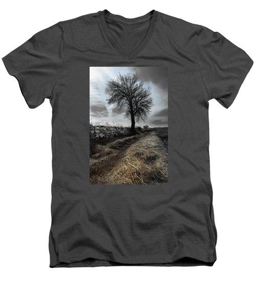 Lone Tree Men's V-Neck T-Shirt by Edgar Laureano