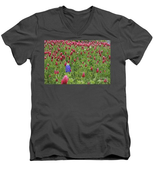Lonely Bluebonnet Men's V-Neck T-Shirt by Jerry Bunger