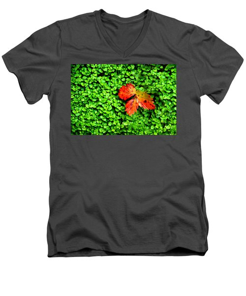 Men's V-Neck T-Shirt featuring the photograph Lonely Leaf by Charlie and Norma Brock