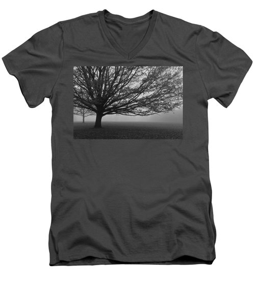 Men's V-Neck T-Shirt featuring the photograph Lonely Low Tree by Maj Seda