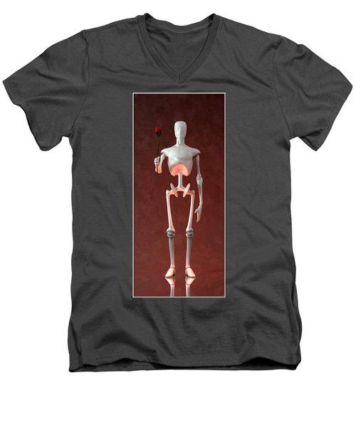 Men's V-Neck T-Shirt featuring the digital art Lonely Robot... by Tim Fillingim