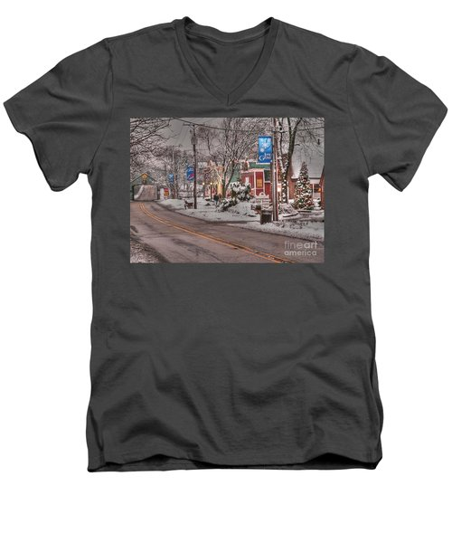 Long Grove In Snow Men's V-Neck T-Shirt by David Bearden