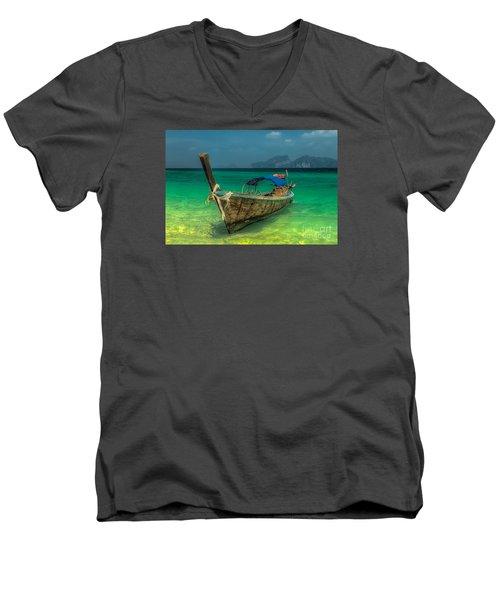 Longboat Men's V-Neck T-Shirt by Adrian Evans