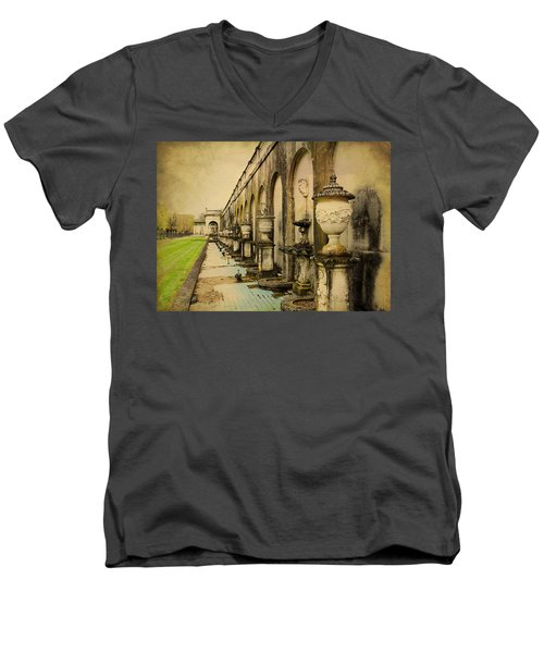 Men's V-Neck T-Shirt featuring the photograph Longwood Gardens Fountains by Trina  Ansel