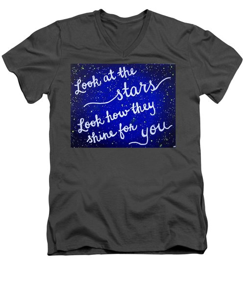 Look At The Stars Quote Painting Men's V-Neck T-Shirt by Michelle Eshleman