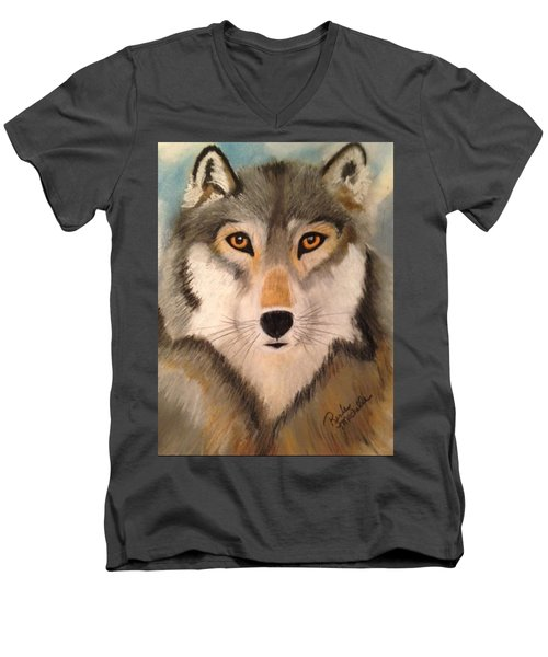 Looking At A Timber Wolf Men's V-Neck T-Shirt