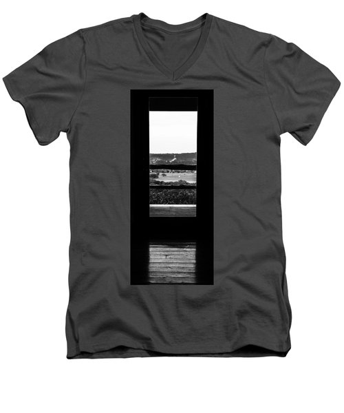 Looking Out A Country Door. Men's V-Neck T-Shirt by Darryl Dalton