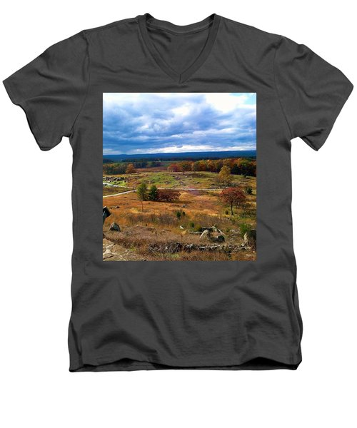 Looking Over The Gettysburg Battlefield Men's V-Neck T-Shirt by Amazing Photographs AKA Christian Wilson