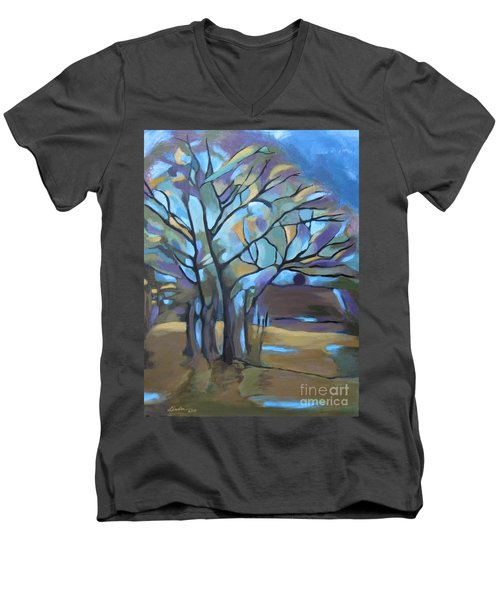 Looks Like Mondrian's Tree Men's V-Neck T-Shirt