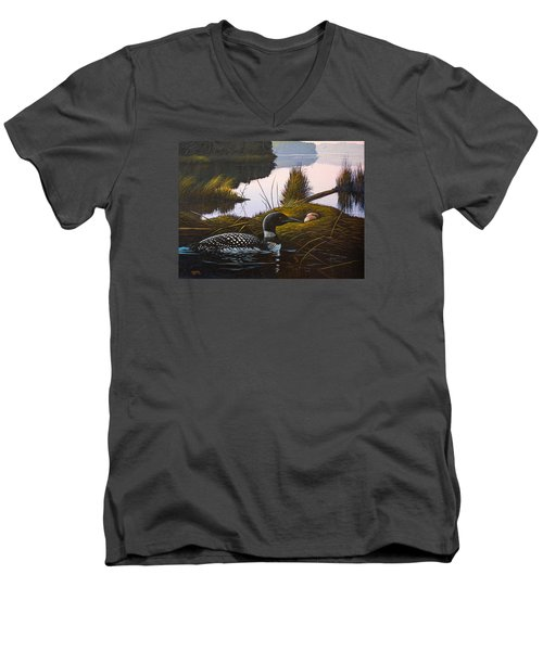 Men's V-Neck T-Shirt featuring the painting Loon Lake by Richard Faulkner