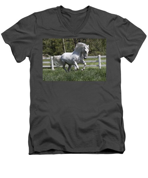 Loose In The Paddock Men's V-Neck T-Shirt by Wes and Dotty Weber
