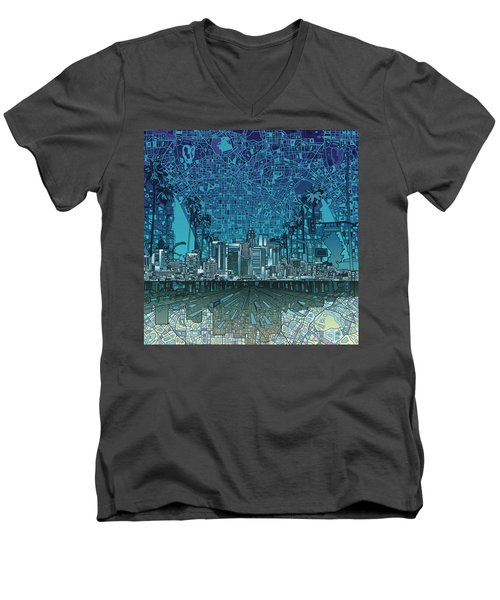 Los Angeles Skyline Abstract 5 Men's V-Neck T-Shirt