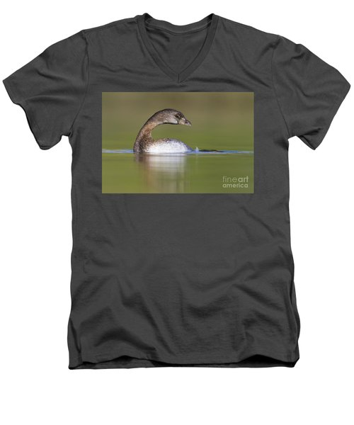 Men's V-Neck T-Shirt featuring the photograph Loss-neck Grebe by Bryan Keil