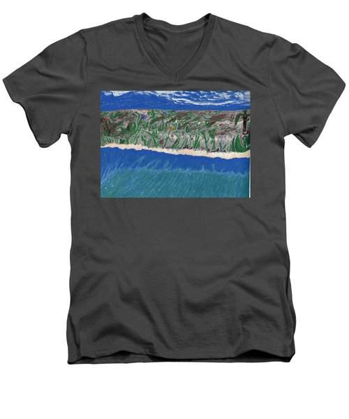 Men's V-Neck T-Shirt featuring the painting Lost Island by Kim Pate