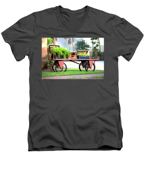 Men's V-Neck T-Shirt featuring the photograph Lost Luggage by Gordon Elwell