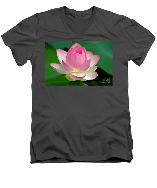 Men's V-Neck T-Shirt featuring the photograph Lotus 7152010 by Byron Varvarigos