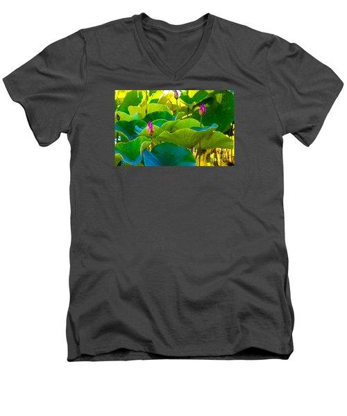 Lotus Garden Men's V-Neck T-Shirt by Roselynne Broussard