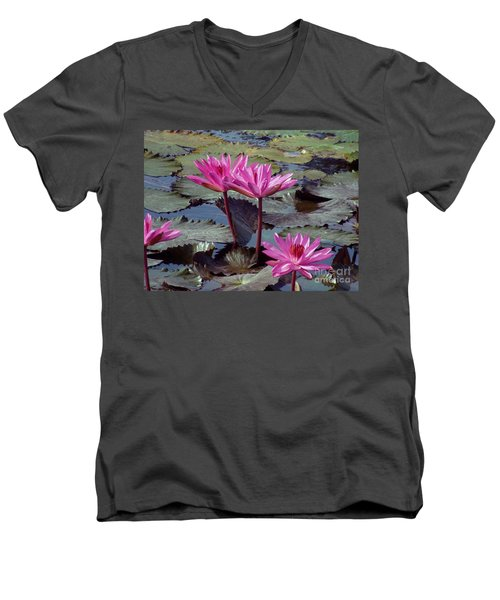 Men's V-Neck T-Shirt featuring the photograph Lotus Flower by Sergey Lukashin