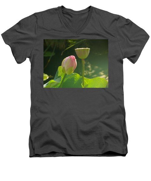 Men's V-Neck T-Shirt featuring the photograph Lotus Soft by Evelyn Tambour