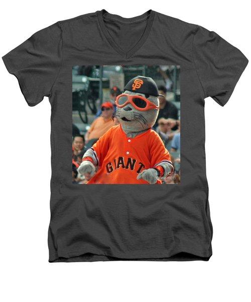 Lou Seal San Francisco Giants Mascot Men's V-Neck T-Shirt